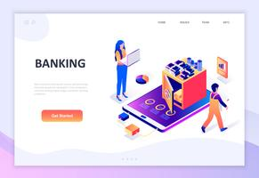 Isometrisches Konzept des modernen flachen Designs des Online-Bankings