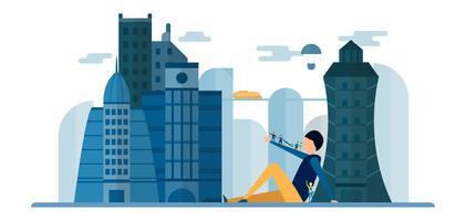 Framtida människor i stadsbyggnader med blå himmel och moln. Vektor illustration med platt stad i pappersformat stil. Trend av landmärke för centrum av världen och stort land.