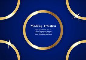 Abstrakter blauer Hintergrund im erstklassigen Konzept mit goldener Grenze. Template-Design für Cover, Business-Präsentation, Web-Banner, Hochzeitseinladung und Luxusverpackungen. vektor