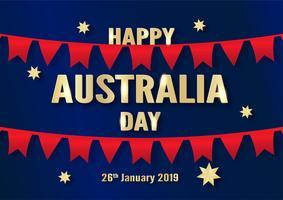 Glücklicher Australien-Tag am 26. Januar. Template-Design für Poster, Einladungskarte, Banner, Werbung, Flyer. Vektorillustration im Papierschnitt und in der Handwerksart. vektor