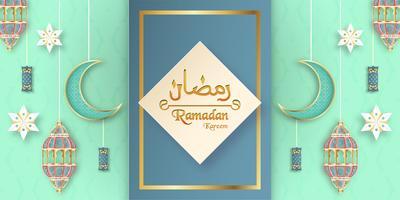 Mall för Ramadan Kareem med grön och guldfärg. 3D Vektor illustration design i pappersskärning och hantverk för islamiskt hälsningskort, inbjudan, bokomslag, broschyr, webb banner, annons.