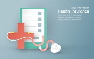 Vektorillustration im Konzept der Krankenversicherung. Schablonendesign ist auf blauem Pastellhintergrund für Abdeckung, Netzfahne, Plakat, Diapräsentation. Art Craft für Kinder im 3D-Papierschnittstil. vektor