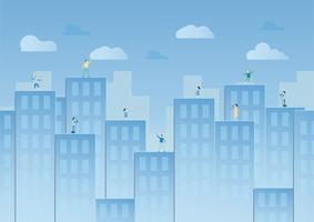 Blauer Himmel mit Wolke und städtischen Gebäuden. Vektorillustrationsdesign im Papierschnitt. Flache Stadt. vektor