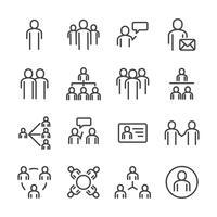 Menschen und soziale Icon-Set. Dünne Linie Symbol Thema. Kontur Strichsymbol Symbole. Weißer getrennter Hintergrund. Abbildung Vektor.