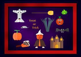 Element für Halloween-Tag mit Kürbismann trägt weißen Hut, Schleife, Kürbisobst, Gemüse, Schloss, Schläger und Baum auf purpurrotem dunklem Hintergrund.