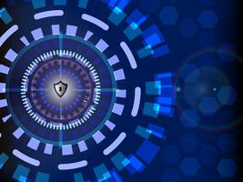 Internetsicherheitskonzept digital mit Kreistechnologiehintergrund, Vektorillustration