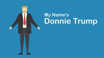 Udon Thani, Thailand - 15. Juli 2018: Vector Charakter von Donald Trump, der auf blauem Hintergrund im flachen Design lokalisiert wird.