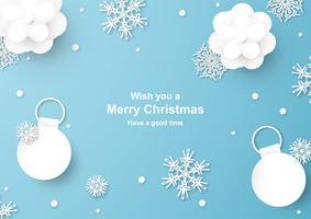 Weihnachtsdekoration auf blauem Hintergrund im Papierschnitt und Handwerk mit Schneeflocke. vektor