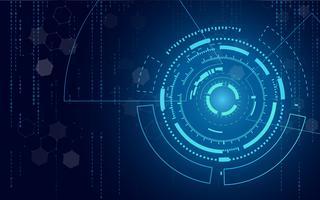 Blauer Technologiekreis und abstrakter Hintergrund der Informatik mit Matrix des blauen und binären Codes. Geschäft und Verbindung. Futuristisches und Industrie 4.0 Konzept. Thema Internet-Cyber und Netzwerk.