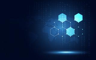 Futuristischer blauer Hexagonbienenwabenzusammenfassungs-Technologiehintergrund. Digitale Transformation der künstlichen Intelligenz und Big Data-Konzept. Geschäftsquanten-Internet-Kommunikationskonzept