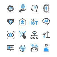 Internet der Sachen und der Ikonen der künstlichen Intelligenz. Roboter- und Industrietechnikkonzept. Glyphe und Konturenstrich. Zeichen- und Symbolthema. Vektorillustrationsgrafikdesign-Sammlungssatz