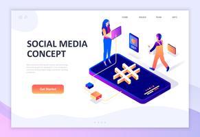 Isometrisches Konzept des modernen flachen Designs von Social Media vektor