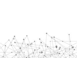 Weißer abstrakter Hintergrund der Technologie und der Wissenschaft mit grauer Linie Punkt. Geschäfts- und Verbindungskonzept. Futuristisches und Industrie 4.0 Konzept. Internet-Cyber-Datenverbindung und Netzwerkthema.