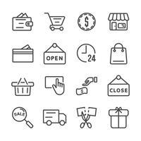 Shopping ikonuppsättning. Svart fredag och Cyber måndagskoncept Tunn linje ikon tema. Symboler för översiktstreckssymboler. Vit isolerad bakgrund. Illustration vektor.