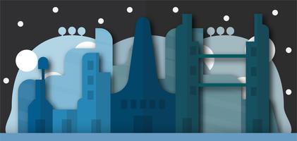 Pop up design av stadsbyggnader och framtida stad på natten. Vektor illustration med platt stil.