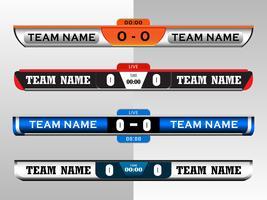 Anzeigetafel-Digital-Schirm-Grafik-Schablone für die Sendung des Fußballs, des Fußballs oder des Futsals, Illustrationsvektordesignschablone für Fußballligaspiel. EPS10-Vektordatei-Design