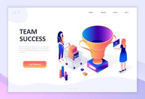 Modernt plandesign isometrisk koncept för Team Success vektor