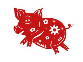 Schwein-Tierkreis. Guten Rutsch ins Neue Jahr 2019 das Jahr des Schweinkonzeptes. Thema Papierkunst und Grafikdesign. Illustrationsvektor für Grußkartenjahrestag und -feier. Rote Farbmusterbeschaffenheit