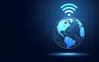 Futuristische blaue Erde mit Wifi-Internet-Zusammenfassungs-Technologiehintergrund. Digitale Transformation der künstlichen Intelligenz und Big Data-Konzept. Geschäftsquanten-Internet-Kommunikationskonzept