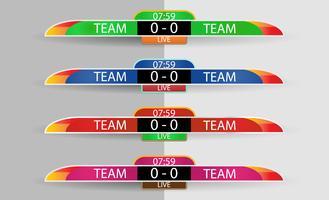 Live resultattavla Digital skärm grafisk mall för sändning av fotboll, fotboll eller futsal, illustration vektor design mall för fotboll ligan match. Tröja eller klädfärglag på båda sidor.