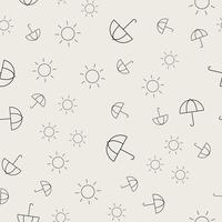 Sömlös mönster bakgrund. Abstrakt och klassiskt koncept. Geometrisk kreativ design snyggt tema. Illustration vektor. Svartvit färg. Paraply och solform för sommarfestival