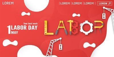 Lycklig arbetsdag den 1 maj i år. Malldesign för banner, affisch, omslag, annons, hemsida. Vektor illustration i pappersklippning och hantverk stil på röd bakgrund.