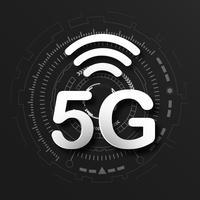 Schwarzer Logohintergrund der zellularen Mobilkommunikation 5G mit Linie Verbindungsübertragung des globalen Netzwerks. Digitales Transformations- und Technologiekonzept. Massives zukünftiges Geräteanschluss-Hochgeschwindigkeitsinternet