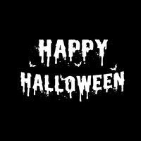 Glücklicher weißer Buchstabe Halloweens auf schwarzem Hintergrund. Einladungsschreiben und Nachricht Banner Zitat Konzept. Feiertags- und Geisterthema. Vektor-illustration