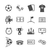 Fußball- und Fußballikonen. Sportspiel und Aktivitätskonzept. Glyphe und Konturen Strich Symbole Thema. Vektorillustrationsgrafikdesign-Sammlungssatz