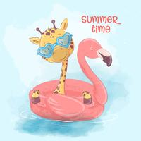 Illustration av ett hälsningskort eller en prinsessa till ett barnrum - en söt giraff på en uppblåsbara cirkel i form av en flamingos, vektorillustration i tecknadstil