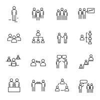 Dünne Linie gesetzter Vektor der Ikone der Arbeiter und der Organisation. Zeichen- und Symbolkonzept. Lebensstil im Bürothema. Weißer getrennter Hintergrund. Abbildung Vektor.