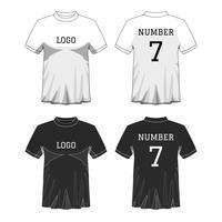 Sport Herren T-Shirt mit kurzen Ärmeln vorne und hinten. Bearbeitbare Schwarzweiß- oder Designfarbe. Modell des Sportabnutzungskonzeptes. Thema Sport und Mode. EP10 Vektorabbildung.