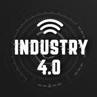 Industri 4,0 med wifi-logotyp på svart bakgrund med global trådlös nätverkslinjeöverföring. Digital transformation och teknik koncept. Massiv framtida anslutning med höghastighetsinternet