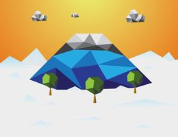 Berg på vintern Låg poly bakgrund. Berg och moln och träd i komponent. Natur och landskapskoncept. Abstrakt och bakgrundskoncept. Miljö och tropiskt klimat tema. Fujisan Japan vektor