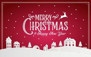 God jul och gott nytt år 2019 av snöig hemstad med typografi teckensnittsmeddelande. Röd rosa papperskonst och digitalt hantverk Illustration vektor firar inbjudan tapeter kort. Semester vinter