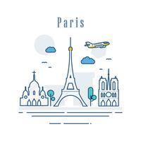 Paris Stadt von Frankreich. Strichzeichnungen berühmter Gebäude. Moderne Stadtbildmarksteinfahnen-Showplacezusammensetzung. Urlaubsreise- und Besichtigungshauptstadtkonzept. Vektor-illustration