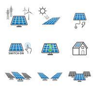 Solarzellen-Icons. Kraft- und Energiekonzept. Illustrationsvektorsammlungssatz. Zeichen- und Symbolthema.