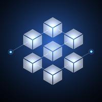 Blockchain-Technologie fintech Kryptowährungsblockkettenserver-Zusammenfassungshintergrund. Verknüpfter Block enthält Kryptografie-Hash und Transaktionsdaten. Neue futuristische Systemtechnik. Vektor-illustration