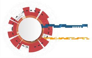 Weißer Technologiekreis und abstrakter Hintergrund der Informatik mit Stromkreislinie. Geschäft und Verbindung. Futuristisches und Industrie 4.0 Konzept. Thema Internet-Cyber und Netzwerk.