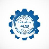 Industrie 4.0 im Involute-Getriebe mit Punktliniensystem. Produktionskonzept für Business und Automation. Cyber Physical und Feedback-Kontrolle. Futuristisch vom Weltnachrichtendienst-Netzthema. Internet der Dinge.