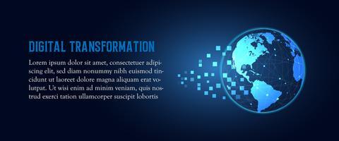 Futuristische Änderung des abstrakten Technologiehintergrundes der Digitaltransformation der blauen Erde. Künstliche Intelligenz und Big Data. Geschäftswachstumscomputer- und -investitionsindustrie 4.0 Vektorillustration