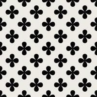 Sömlös mönster bakgrund. Abstrakt och klassiskt koncept. Geometrisk kreativ design snyggt tema. Illustration vektor. Svartvit färg. Klöverbladform