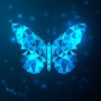 Niedriges Polygon des abstrakten blauen futuristischen Schmetterlinges. Technologie mit polygonalen Formen auf dunkelblauem Hintergrund. Wallpaper und Logo-Konzept. Thema Moleküle und Netzwerkverbindungsknoten. Vektor-Illustration.