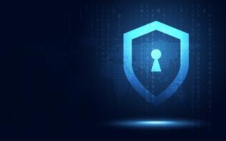Abstrakter Technologiehintergrund der futuristischen Ethik des blauen Schildes und des Schutzes der Privatsphäre. Künstliche Intelligenz, digitale Transformation und Business Quantum Internet Network Communication und Antivirus