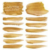 Gyllene vektor pensel stroke, guld konsistens färg fläck, vektor illustration.