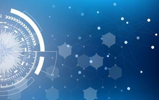 Blå teknik cirkel och datavetenskap abstrakt bakgrund med blå och binär kodmatris. Företag och anslutning. Futuristic and Industry 4.0 koncept. Internet cyber och nätverk tema.
