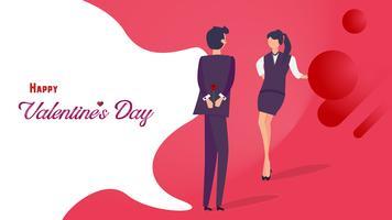 Flaches Design des glücklichen Valentinstags. Mann, der seiner Freundin Rose für das romantische Flirten gibt. Grafik-Design-Konzept. Vektor-illustration