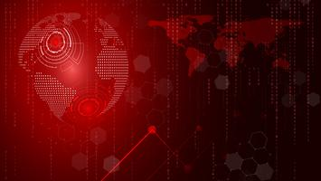 Roter Technologiekreis und abstrakter Hintergrund der Informatik. Geschäft und Verbindung. Futuristisches und Industrie 4.0 Konzept. Thema Internet-Cyber und Netzwerk.