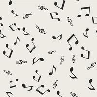 Nahtlose Muster Hintergrund. Abstraktes und klassisches Konzept. Stilvolles Thema des geometrischen kreativen Designs. Abbildung Vektor. Schwarzweiss-Farbe. Musiknoten und Lied für Unterhaltungsereignis