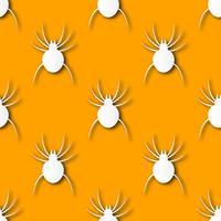 Nahtloser Halloween-Spinnenpapierkunst-Musterhintergrund. Orange Farbe für den glücklichen Halloween-Tag, der das Karten- und Geschenkverpackungskonzept verziert. Nettes gespenstisches Grafikdesign vektor